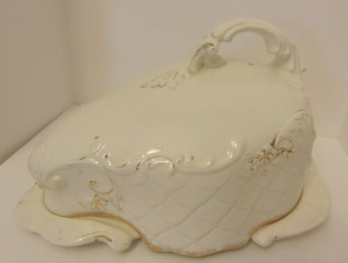 ANTIQUE Large Ornate Victorian White Porcelain Covered Cheese/Butter Dish