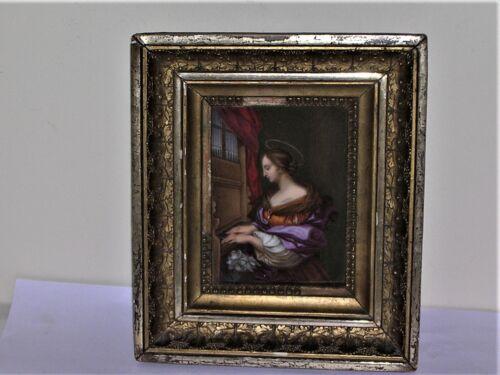 Framed Painting On Meissen Porcelain St. Cecilia Patron Saint of Musicians