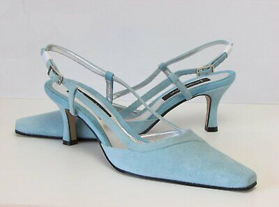 Jacques Vert Mermaid Range Two-Tone Aqua Suede Shoes NEW 5/38 & Matching Bag