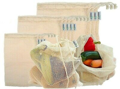 Reusable Produce Bags Cotton Mesh Fruit and Veg Storage Set of 10 bags