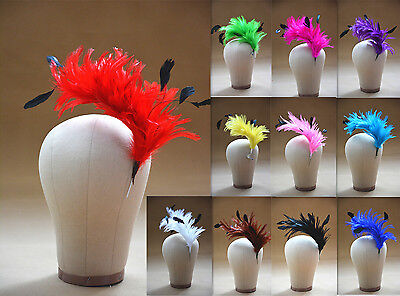 Hackle Coque Striped Feather Tree Pom Mount Flower Trim Hat Millinery (Feather Trim Hat)