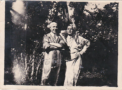 1930s Handsome men dressed in uzbeks fashion gay interest Russian antique photo