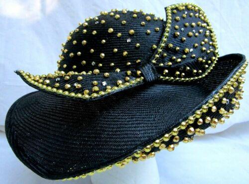 VTG..JACK McCONNELL..BLACK HAT..GOLD STUDS..CLEAR RHINESTONES..BOW
