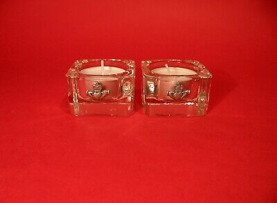 Claddagh on Two Square Glass Tea Lights Valentine's Day Wedding Best Friend