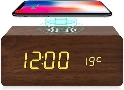 Wooden Alarm Clock with Wireless Charging for iPhone Samsung, Wood Digital LED