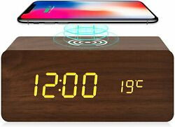 Wooden Alarm Clock with Wireless Charging for iPhone Samsung, Wood Digital LED D