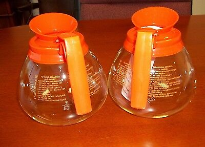 2 Pk - 12 Cup Commercial Coffee Potscarafesdecanters For Bunn - Decaf Orange