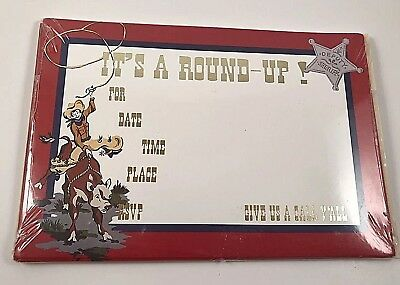 Round Up Out West Cowboy Bronco Western Theme Party Invitations ~ Call Y'All - Western Themed Parties