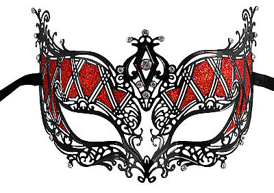 Red Glitter Black Filigree Masquerade Mask with Clear Rhinestones](Masquerade Masks Red)