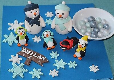 Winter Wonderland Kit Cake Decoration Snowmen Penguins Baby Shower Birthday