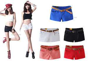 WOMENS-Sexy-Denim-Mini-Shorts-Low-Waisted-Tight-Fit-Hot-Pants-Stretchy-Jeans