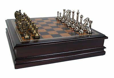 John N. Hansen Metal Chess Set with Deluxe Wood Board and Storage-2.5-Inch (Hansen Chess Set)