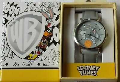 New Looney Tunes Bugs Bunny Basketball Gray Faux Leather Wrist Watch in Box