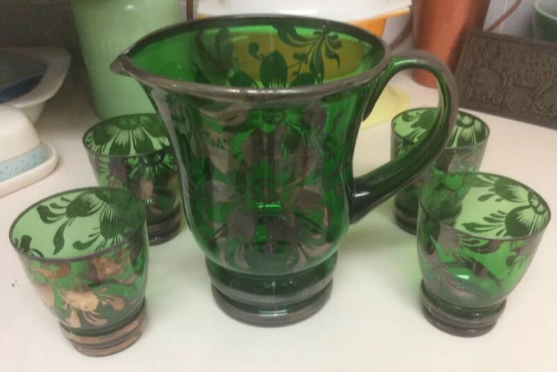 Vintage hand painted glass pitcher and 4 tumblers Made in Italy