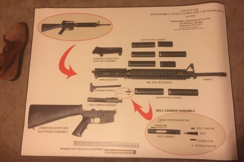 US Army M16A4 rifle Display chart, disassembly layout, original, new,