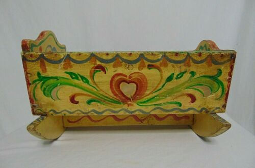 Baby Doll Cradle Vintage Rocking Wood Painted Pennsylvania Dutch Style Yellow