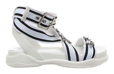 White Star Milano (Scarpe Sandalo Donna LIU JO Milano Star 03 Sandal White Black Bianco Nero Nuovo)