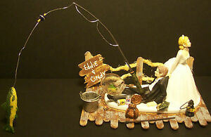NO-FISHING-ON-DOCK-Wedding-Cake-Topper-Funny-Bass-fish-with-pole-name-sign