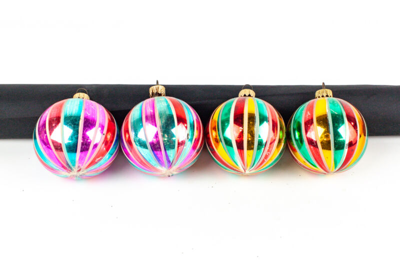 Vintage West Germany Round Vertical Striped Glass Ornaments - Lot of 4