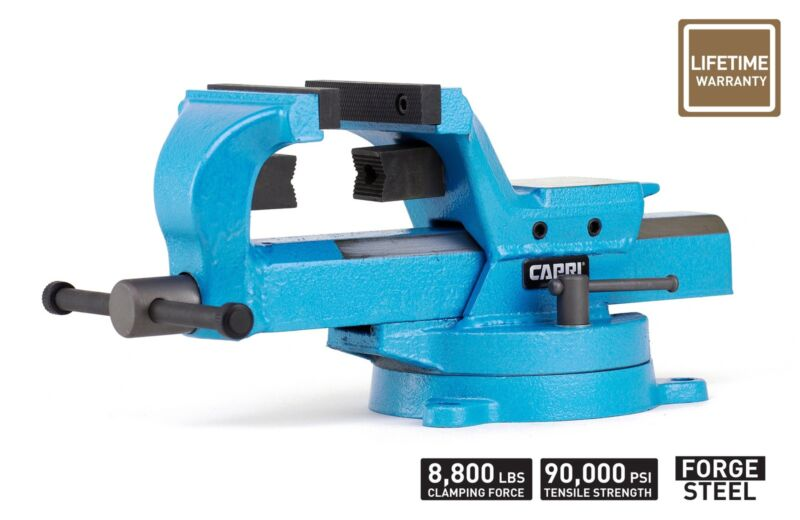"""Capri Tools 6"""" Bench Vise 360° Rotation Forged Steel"""
