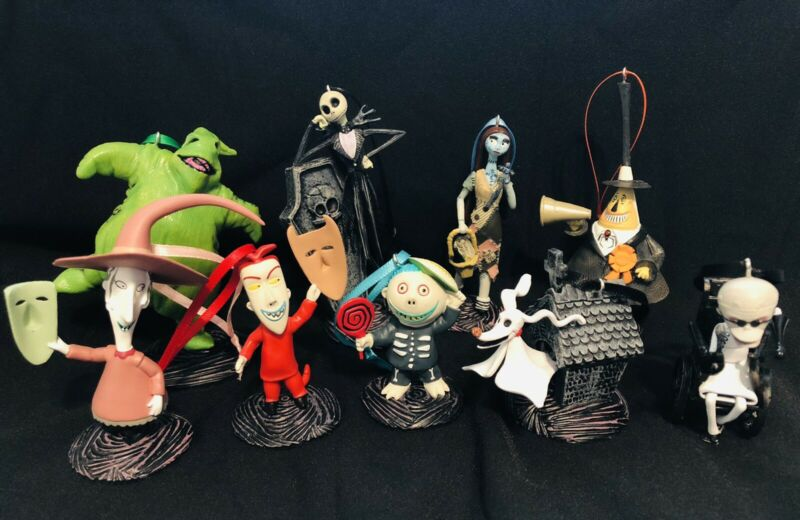 Disney's Nightmare Before Christmas 9 pc Christmas Ornament Set Jack Sally Zero