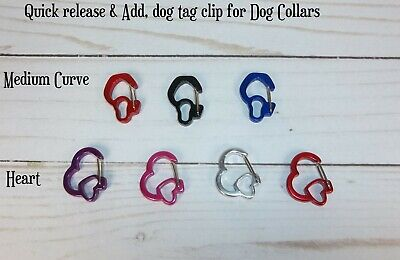 Dog Pet ID Tag Holder Rubit Clip Add Remove tags charm quckly Heart Curve collar Heart Dog Pet Collar Charm