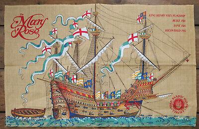 VINTAGE LINEN TEA TOWEL / MARY ROSE / HENRY VIII FLAGSHIP RECOVERED 1982 / 3