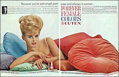 1963 Pretty Blonde Woman on pillows Cutex nail polish vintage photo print ad L69