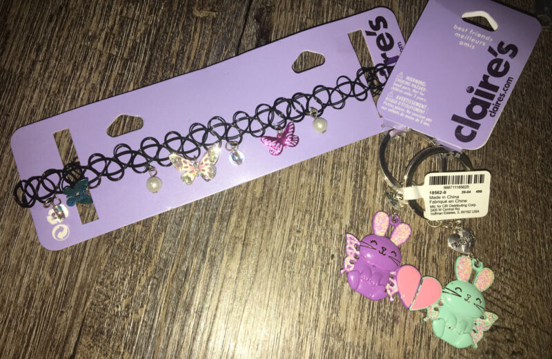Claire's Butterfly Choker Necklace Bunny Keychain Backpack Clip Jewelry Lot