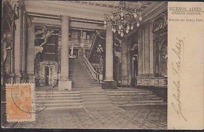 O  1900 Argentina  Postal Card  Jockey Club  Architecture  Allegory Liberty Seat