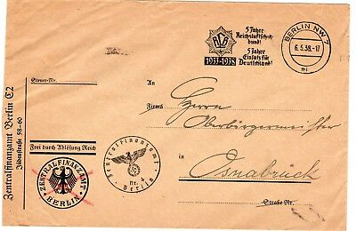 Germany 1938 stampless freepost official envelopes from Bberlin to Osnabruck