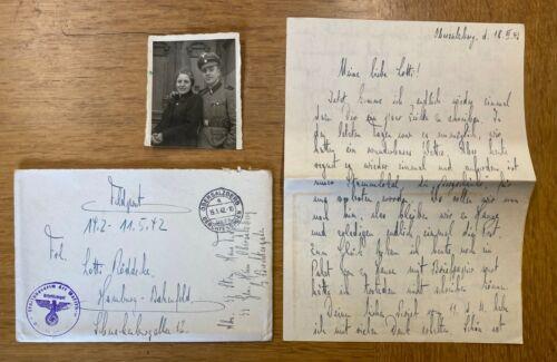WW2 GERMAN SS LETTER, ENVELOPE & UNIFORM PHOTO .OBERSALZBURG GUARD.