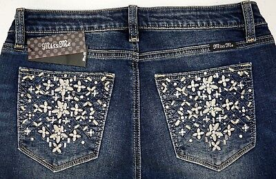 NWT $99 Miss Me Skinny Jeans Blue Womens Juniors Size 28 NEW -