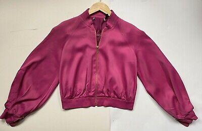 Topshop x Jonathan Saunders size 10 pink silky 80s bomber jacket designer collab