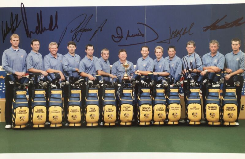 Ryder Cup 2006 signed by 7 European Players 12x8 photo UACC RACC Trusted AFTAL