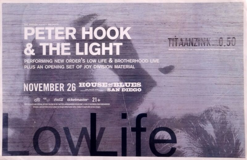 PETER HOOK & THE LIGHT 2014 SAN DIEGO CONCERT TOUR POSTER-New Order,Joy Division