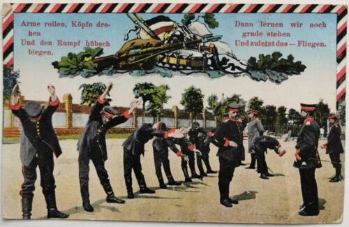 Postcard WWI Feldpost with german soldiers doing gymnastic in camp Mailed 1918