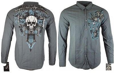 XTREME COUTURE by AFFLICTION Men T-Shirt VINLAND SKULL Tatto Biker MMA UFC $78