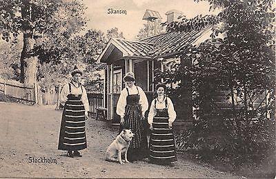 kansen ~ Frauen in Ureinwohner Kostüme mit Hund Postkarte (Elsa Kostüm Frauen)