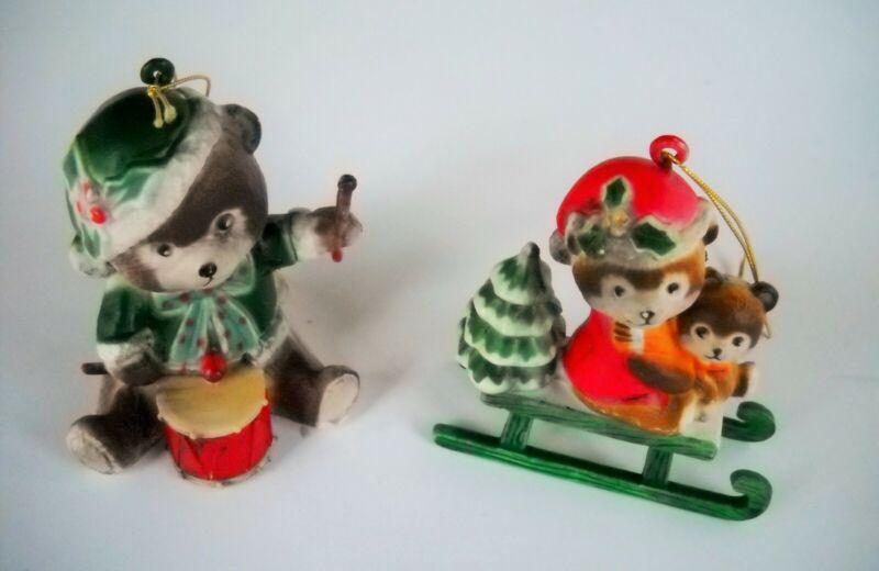 2 Vintage Bears Christmas Tree Ornaments Ceramic & Plastic -Made in Hong Kong