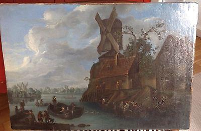 GEMÄLDE NIEDERLÄNDISCH ÖL um 1700 ORIGINAL v. Bredael 35 x 50 FLUSSLANDSCHAFT