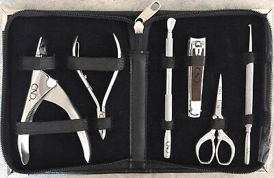 CND MANICURE PEDICURE IMPLEMENTS KIT 6-pc Nail Clipper Nipper Tools Case Set -