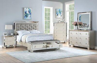 Bedroom Furniture Cal King Size Bed Storage FB Unique Bedframe Silver Color - Cal King Furniture