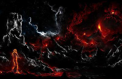 Ecke Gerahmt (Gerahmter Druck - Feuer Demon Einstecken in die Darm Of Hell ( Bild Plakat Gotik)