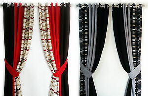PAIR-OF-3-TONE-CHECKER-BOARD-FULLY-LINED-EYELET-CURTAINS-IN-2-GORGEOUS-COLOURS