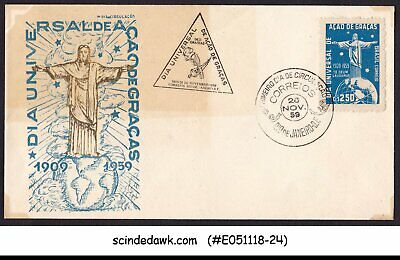 BRAZIL - 1959 50 YEARS THANKS GIVEN UNIVERSAL DAY / CHRIST THE REDEEMER FDC - Thanks Given