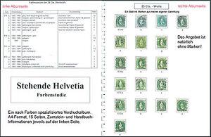 Schweiz Literatur Stehende Helvetia , Vordruckalbum für Nuancen (ohne Marken!)