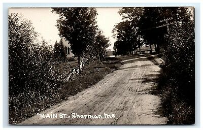 Postcard Main Street, Sherman, Maine ME church in distance RPPC H10, used for sale  Biddeford