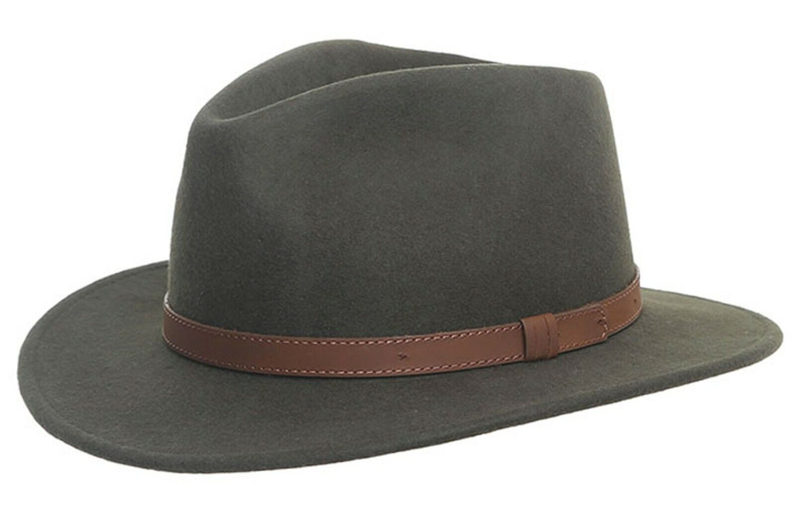 Packable Hand Made Fedora Trilby Showerproof Hat with Leather Band 100/% Wool