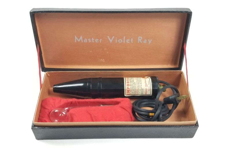 Vintage Master Violet Ray Machine, Tested & Working, 1930s Healing Device w/ Box
